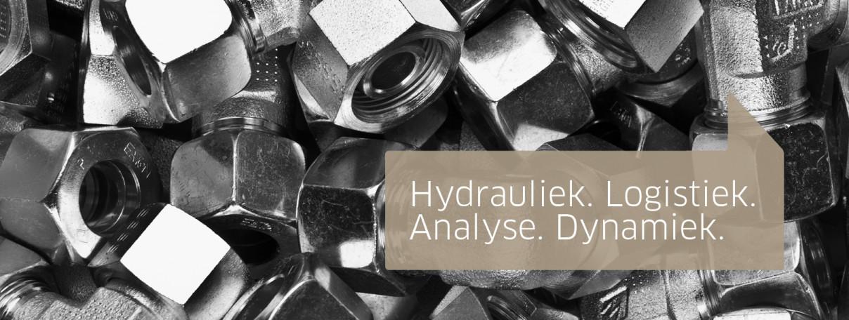 Hydrauliek. Logistiek. Analyse. Dynamiek. Slider
